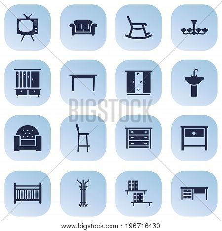 Collection Of Wardrobe, Cot, Desk And Other Elements.  Set Of 16 Decor Icons Set.