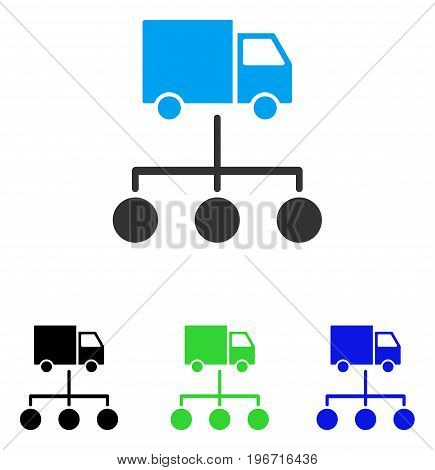 Truck Distribution Links vector pictograph. Illustration style is a flat iconic colored symbol with different color versions.