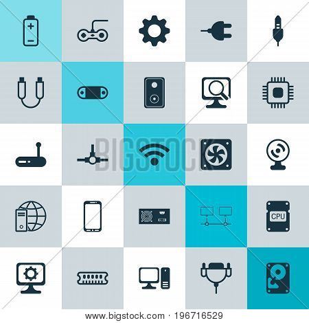 Computer Icons Set. Collection Of Radio Set, Desktop Computer, Internet Network And Other Elements