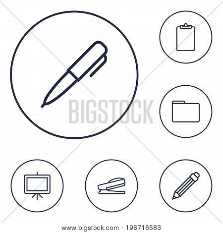 Collection Of Pen, Whiteboard, Clipboard And Other Elements.  Set Of 6 Instruments Outline Icons Set.