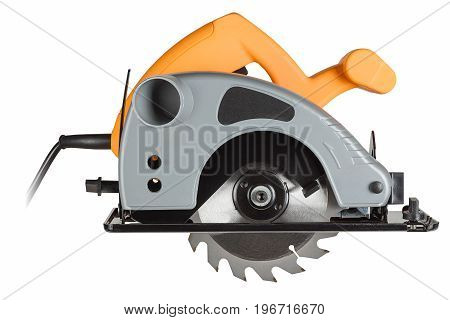 small and powerful circular saw on white background