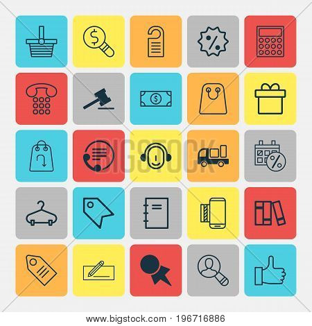 E-Commerce Icons Set. Collection Of Business Inspection, Refund, Mobile Service And Other Elements