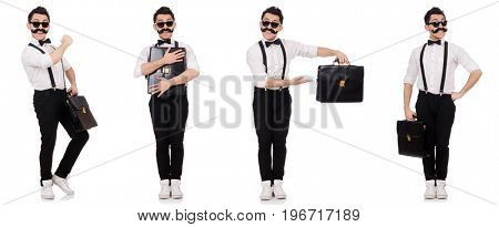 Young man with briefcase isolated on white