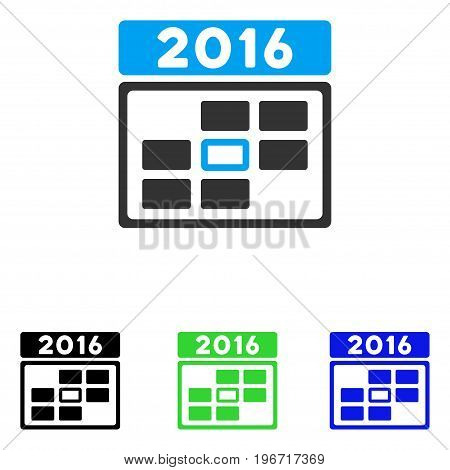 2016 Date vector icon. Illustration style is a flat iconic colored symbol with different color versions.