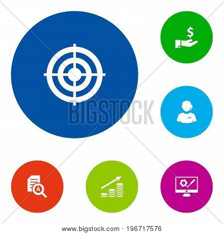 Collection Of Money Growth, Call Center, Document Checking And Other Elements.  Set Of 6 Idea Icons Set.