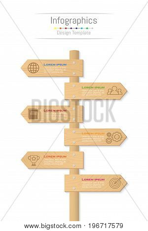 Infographic design elements for your business data with 6 options parts steps timelines or processes. Wood sign concept Vector Illustration.