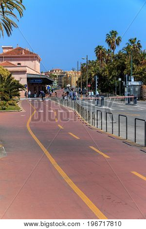 SAN REMO, ITALY - APRIL 29, 2016: Innovation by introducing a special road for bicycles