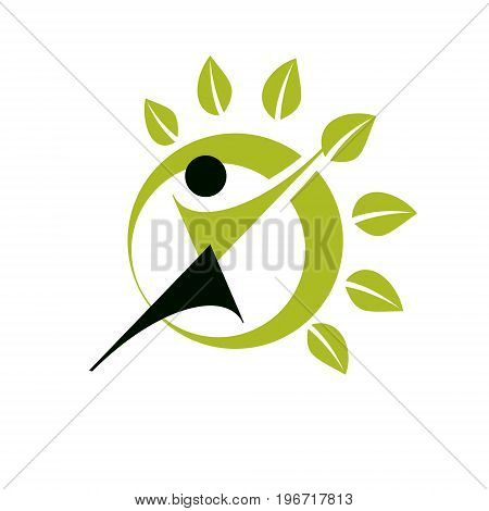 Vector illustration of excited abstract person with raised hands up. Go green idea creative logo. Wanderlust and countryside vacation idea symbol.