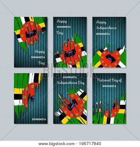 Dominica Patriotic Cards For National Day. Expressive Brush Stroke In National Flag Colors On Dark S