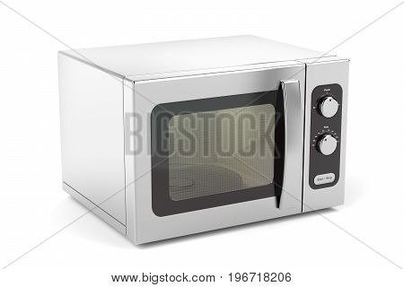 3D illustration of silver microwave oven on white background