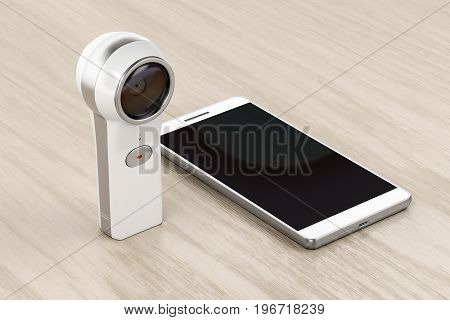 360 degree camera and smartphone on wood background, 3D illustration