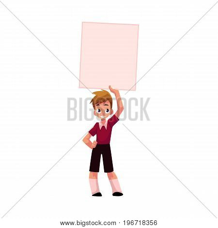 Little boy, child, kid holding blank empty poster, board over head, cartoon vector illustration isolated on white background. Little boy holding empty, blank poster over head