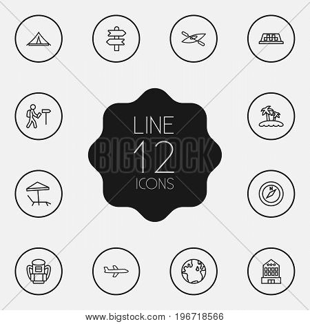 Collection Of Globe, Case, Boat And Other Elements.  Set Of 12 Relax Outline Icons Set.