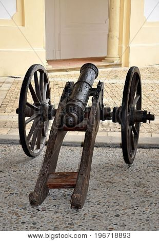 Detailed view of the old Napoleonic cannon in the day