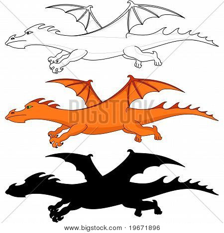 fantastic dragon, three variants: color, silhouette, contours poster
