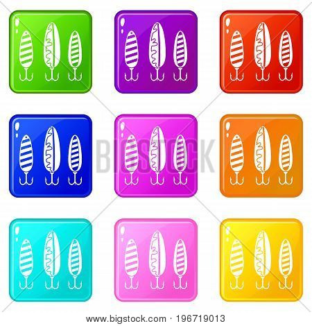 Plastic fishing lure icons of 9 color set isolated vector illustration
