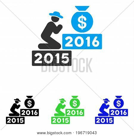 Pray For Money 2016 vector icon. Illustration style is a flat iconic colored symbol with different color versions.