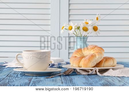 Breakfast In Country House With Cup Of Coffee And Croissant