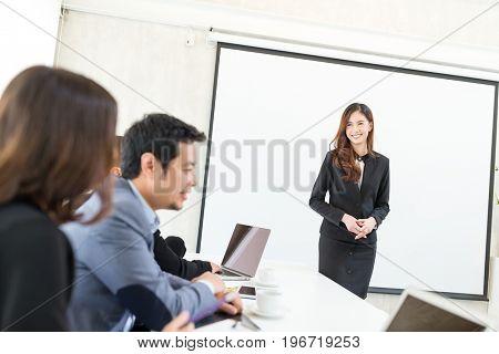 Business leader having presentation
