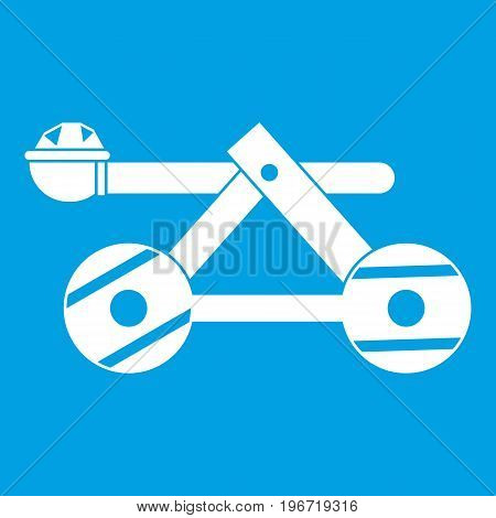 Ancient wooden catapult icon white isolated on blue background vector illustration