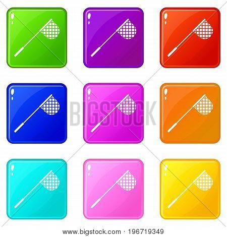 Fishing net icons of 9 color set isolated vector illustration
