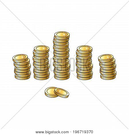 Set of shiny gold coins in tall and short stakcs, piles, sketch vector illustration isolated on white background. Realistic hand drawing of stacks of blank, unlabeled golden coins