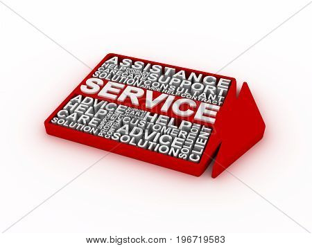 Service concept words. 3D rendering on white background.