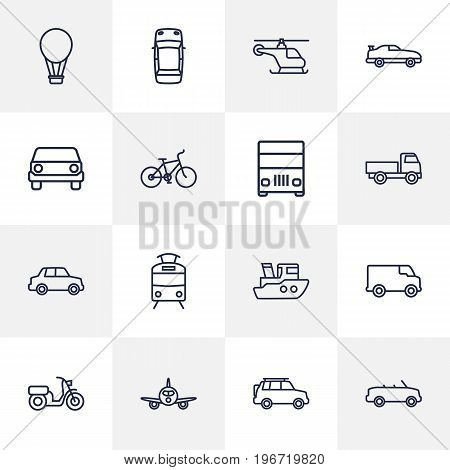 Collection Of Moped, Lorry, Suv And Other Elements.  Set Of 16 Traffic Outline Icons Set.
