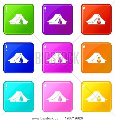 Camping tent icons of 9 color set isolated vector illustration