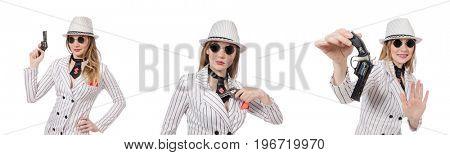 Beautiful girl holding hand gun isolated on white