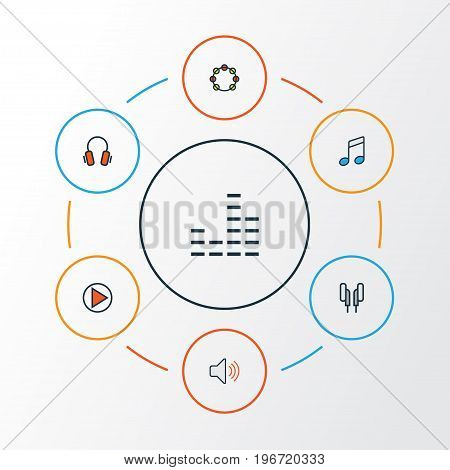 Music Colorful Outline Icons Set. Collection Of Headphones, Volume, Sound And Other Elements