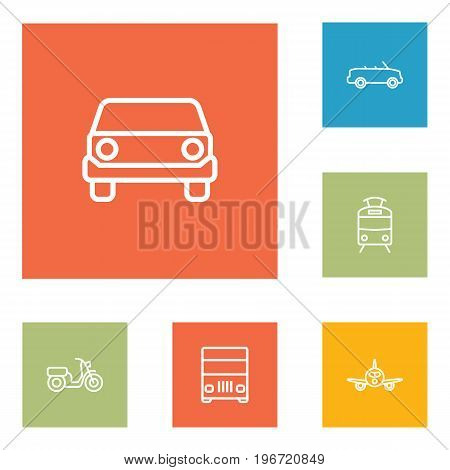 Collection Of Tram, Cabriolet, Front View And Other Elements.  Set Of 6 Traffic Outline Icons Set.