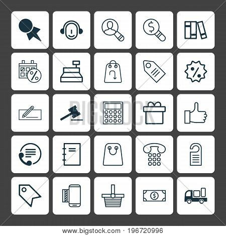 Commerce Icons Set. Collection Of Rebate Sign, Till, Mobile Service And Other Elements