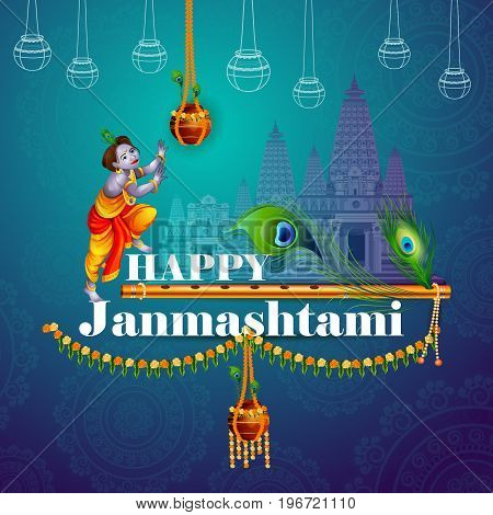 easy to edit vector illustration of Happy Krishna Janmashtami greeting background