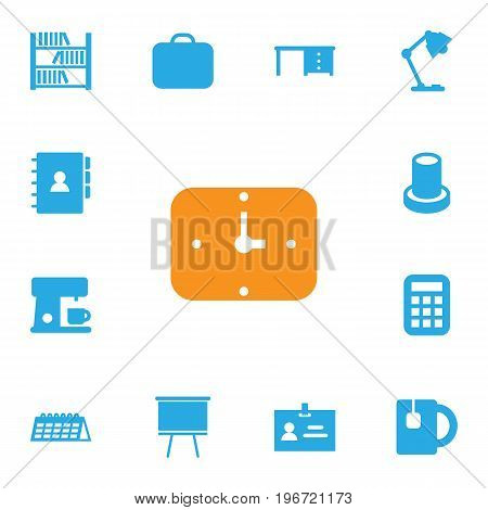 Collection Of Cup, Date, Desktop And Other Elements.  Set Of 13 Bureau Icons Set.
