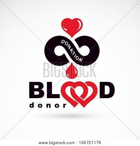 Blood donor inscription isolated on white and made using vector red blood drops heart shape and limitless symbol. The 14 June world blood donor day. Medical logo.