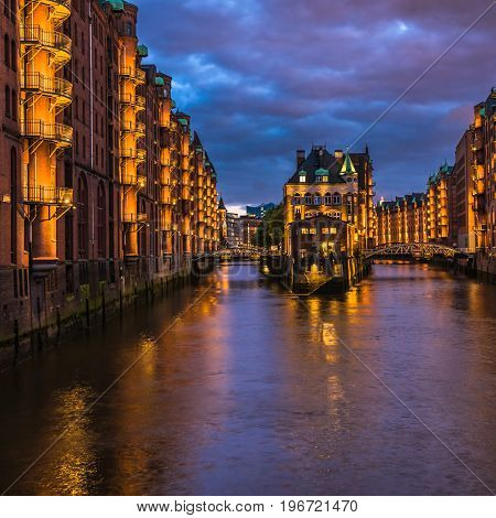 Water Castle In Old Speicherstadt Or Warehouse District, Hamburg, Germany