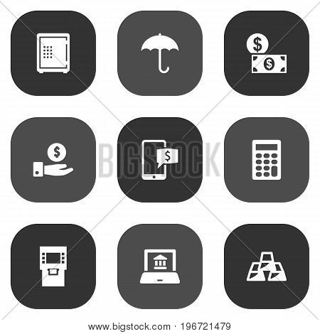 Collection Of Money, Calculate, Save Money And Other Elements.  Set Of 9 Finance Icons Set.