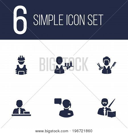 Collection Of Leaner, Manager, Producer And Other Elements.  Set Of 6 Job Icons Set.