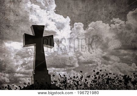 Grunge image of a cross in the cemetery perfect halloween background