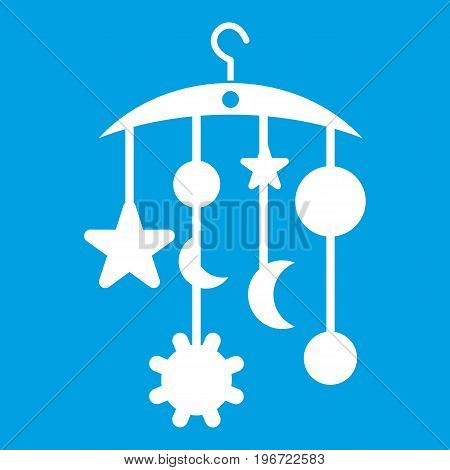 Baby bed carousel icon white isolated on blue background vector illustration