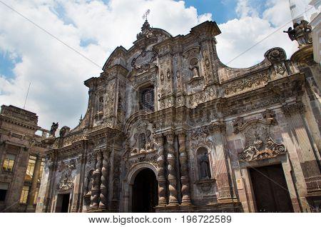 QUITO, ECUADOR- MAY 23, 2017: Beautiful ancient building at Plaza Grande in Quito.