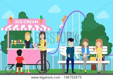 Amusement park illustration. People have fun at the park with roller coaster and sweets.
