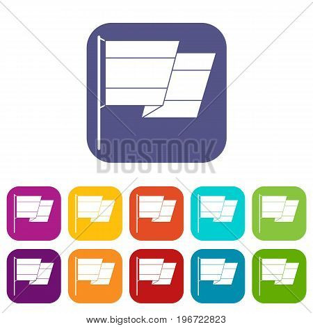 Flag of Spain icons set vector illustration in flat style in colors red, blue, green, and other