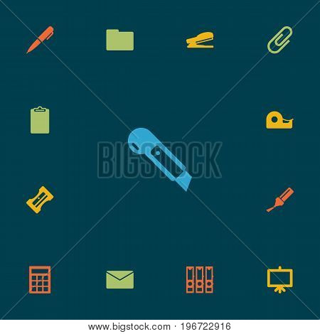 Collection Of Knife, Folder, Highlighter And Other Elements.  Set Of 13 Stationery Icons Set.