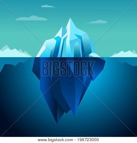 Blue background vector iceberg Lowpoly quartz polar