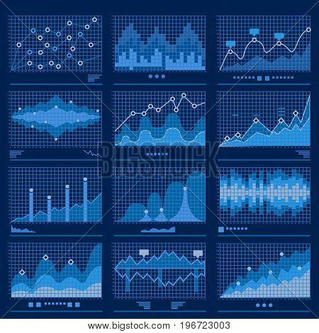 Big data blueprint data analytics blue background vector illustration