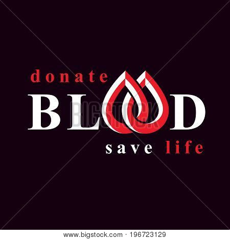 Blood donation inscription isolated on white. Vector red blood drops. The 14 June world blood donor day. Medical theme graphic symbol.