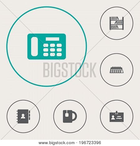 Collection Of Data, Book, Date And Other Elements.  Set Of 6 Office Icons Set.