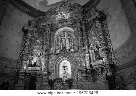 QUITO, ECUADOR- MAY 23, 2017: Indoor view of the Basilica of the National Vow, a Roman Catholic church, Quito, Ecuador.